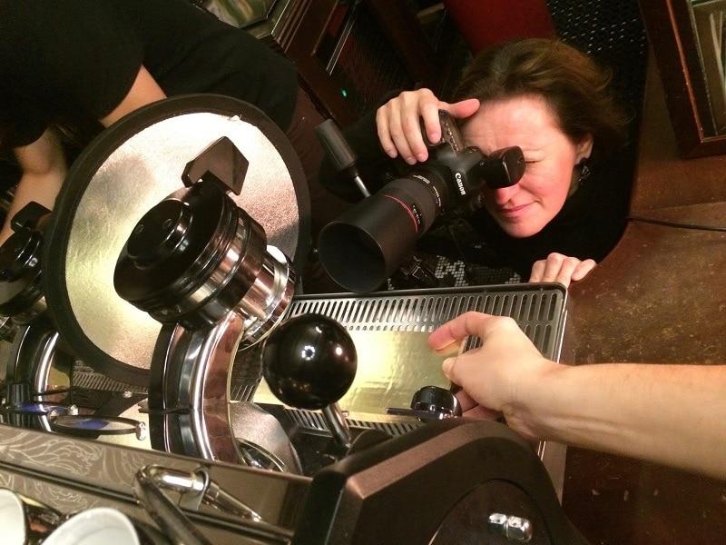 profesionálne fotenie otvorenej páky kávovaru