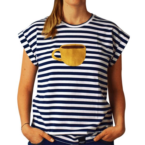 dámske pískacie tričko espresso šálka spredu