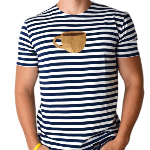 pánske pískacie tričko espresso šálka spredu