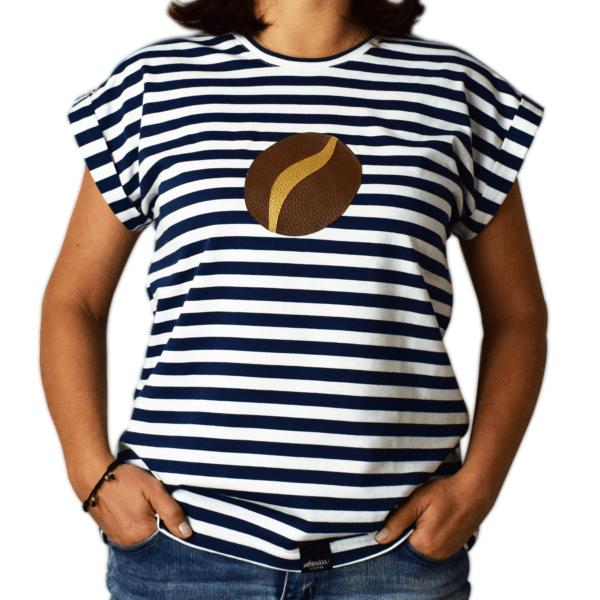 dámske pískacie tričko kávové zrnko spredu