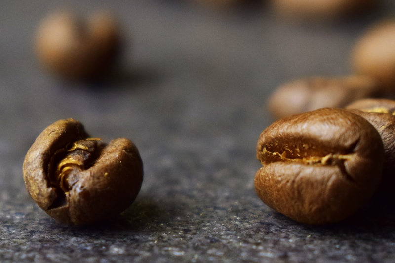detail zrnka kávy peaberry