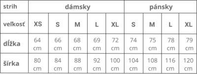 veľkostná tabuľka pískacích tričiek Ebenica