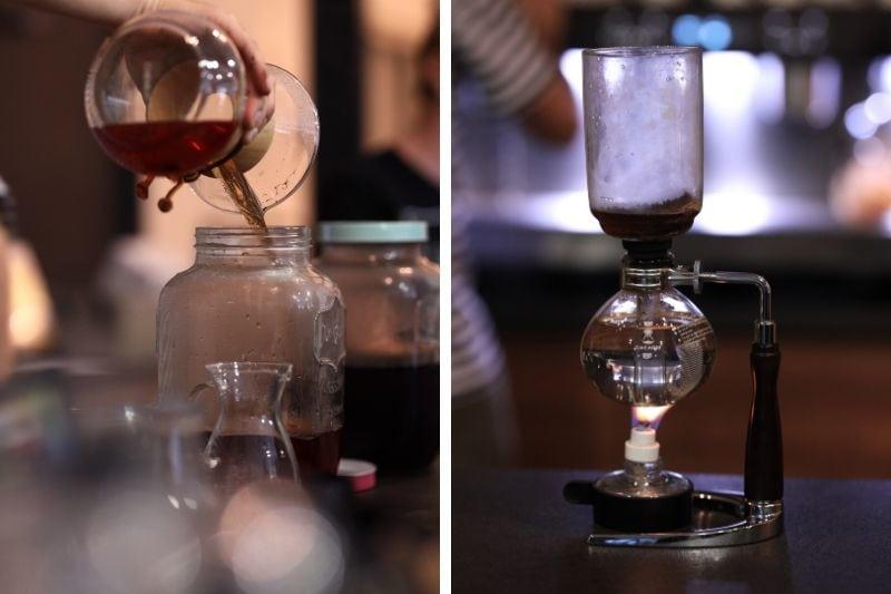 príprava cascary a kávy cez tzv. sifón