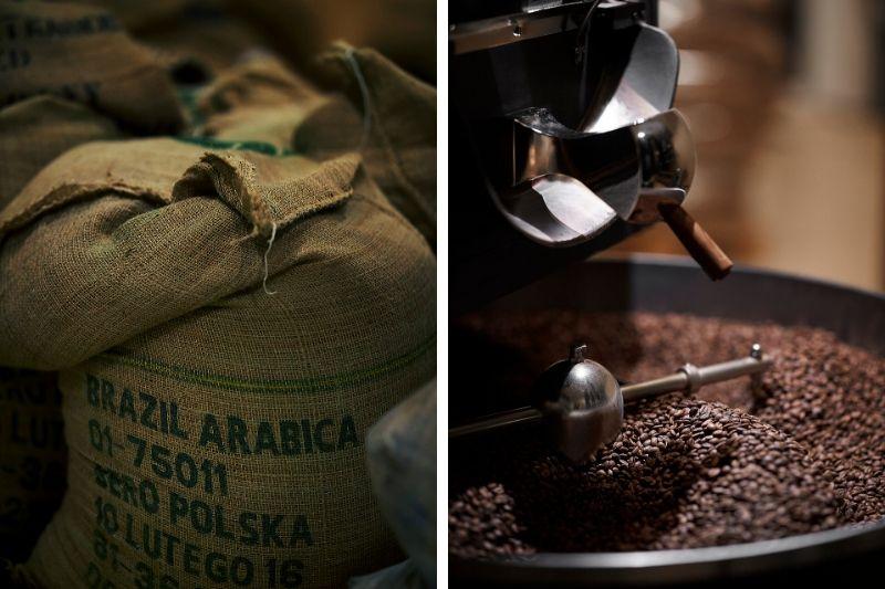 zelená káva v mechu a čerstvo pražená káva