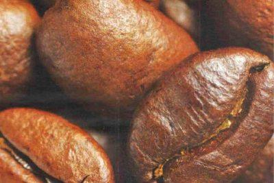 detail pražených kávových zŕn