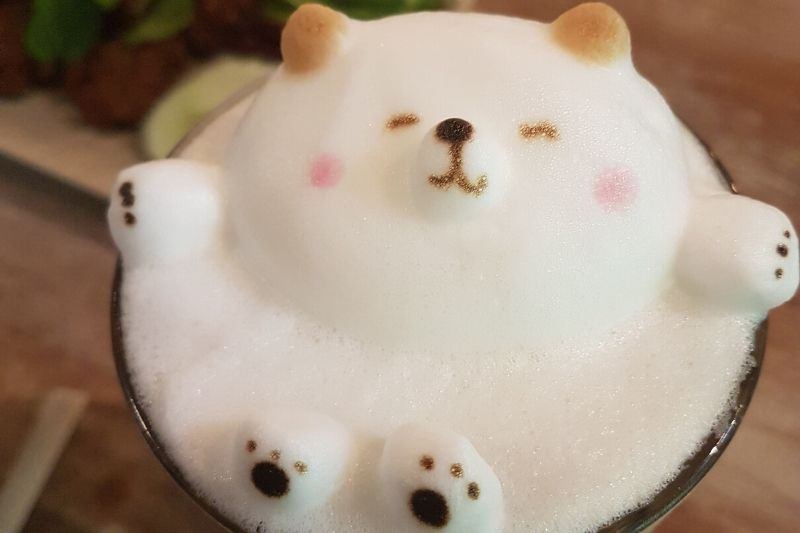3D latte art psíka