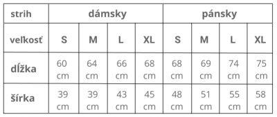 veľkostná tabuľka trička Dajme krátke ristretko