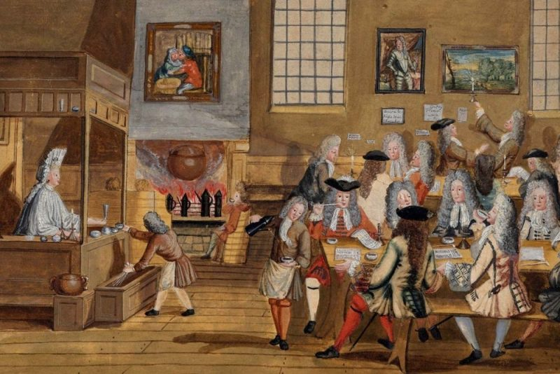 historická maľba kaviarne v Londýne